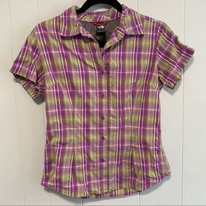 The North Face purple plaid button down top